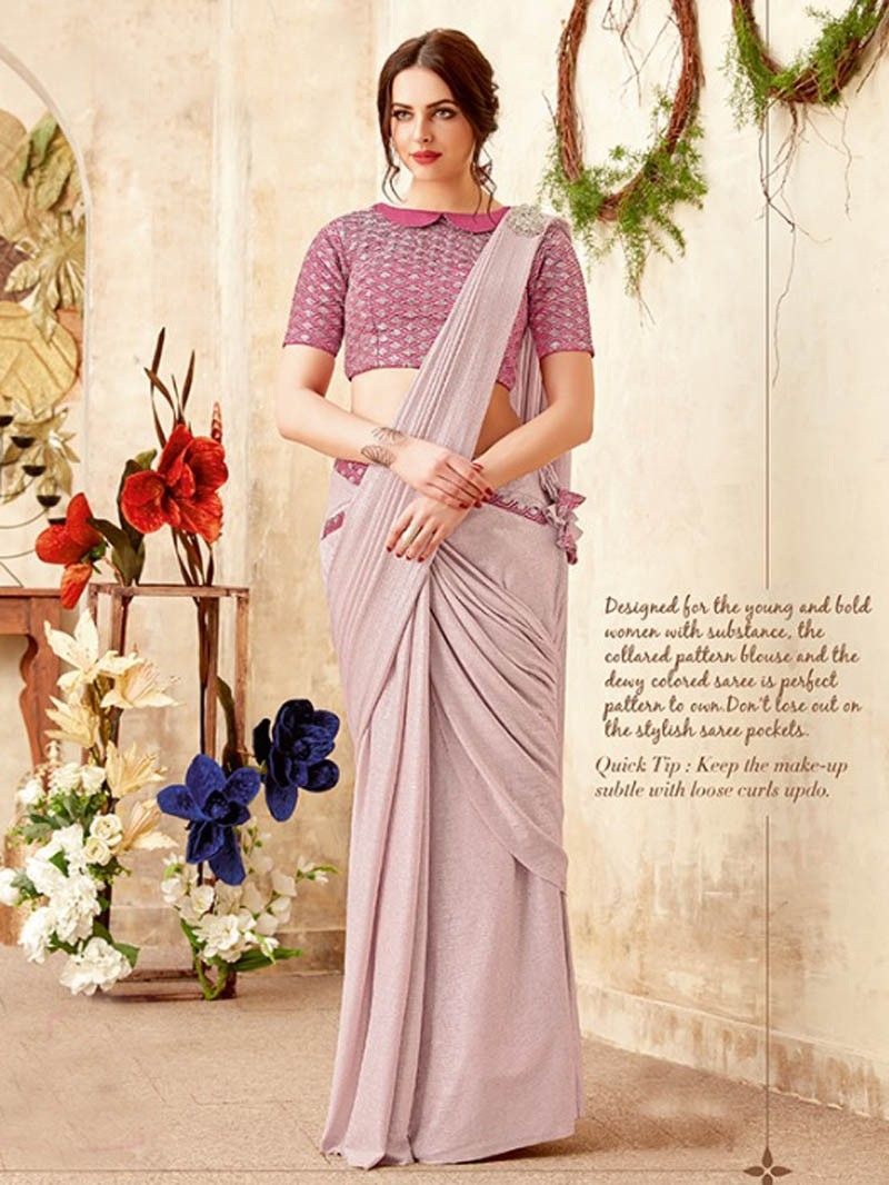 d214703598e8e4 Latest Designer Women s Party Wear Pink Color Pleated Lycra Saree with  Blouse