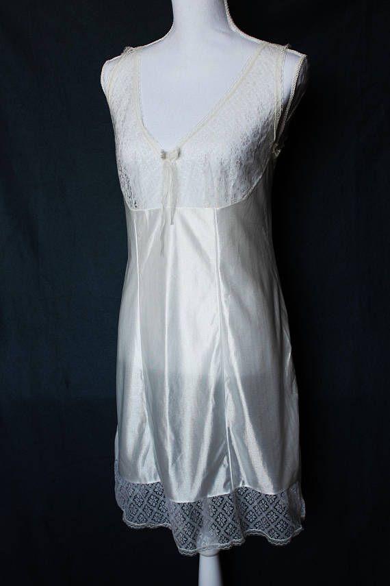 651f2edb350 Vintage satin nightgown   white lace chemise   sexy bridal slip dress    victorian nightgown   retro nighty   romantic honeymoon lingerie