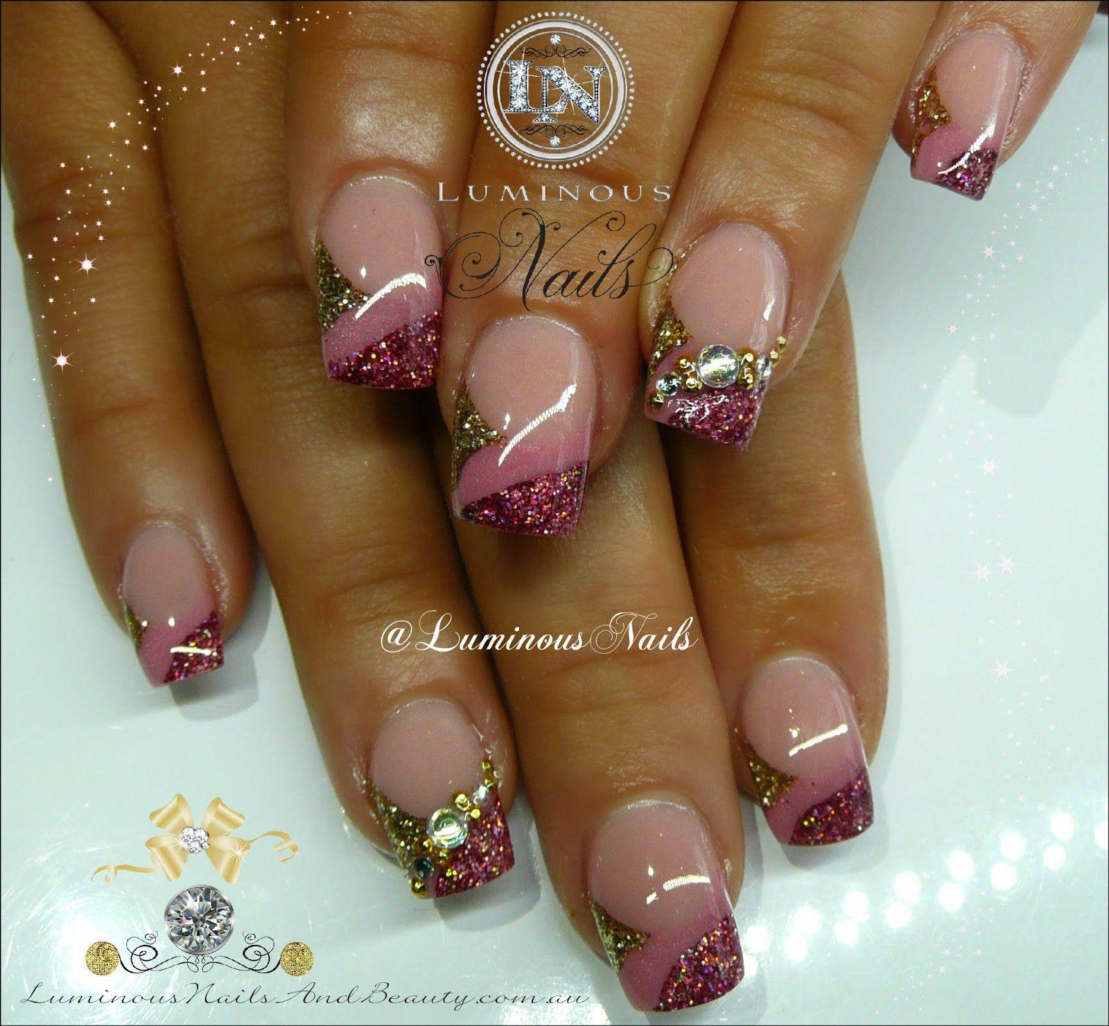 Luminous Nails: Bridesmaid Nails... Rose Pink & Gold Nails ...