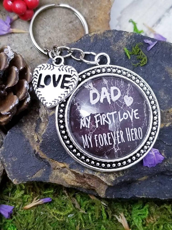 Personalized Keychain For Dad From Daughter Daddy Birthday Gift Child My First Love Forev