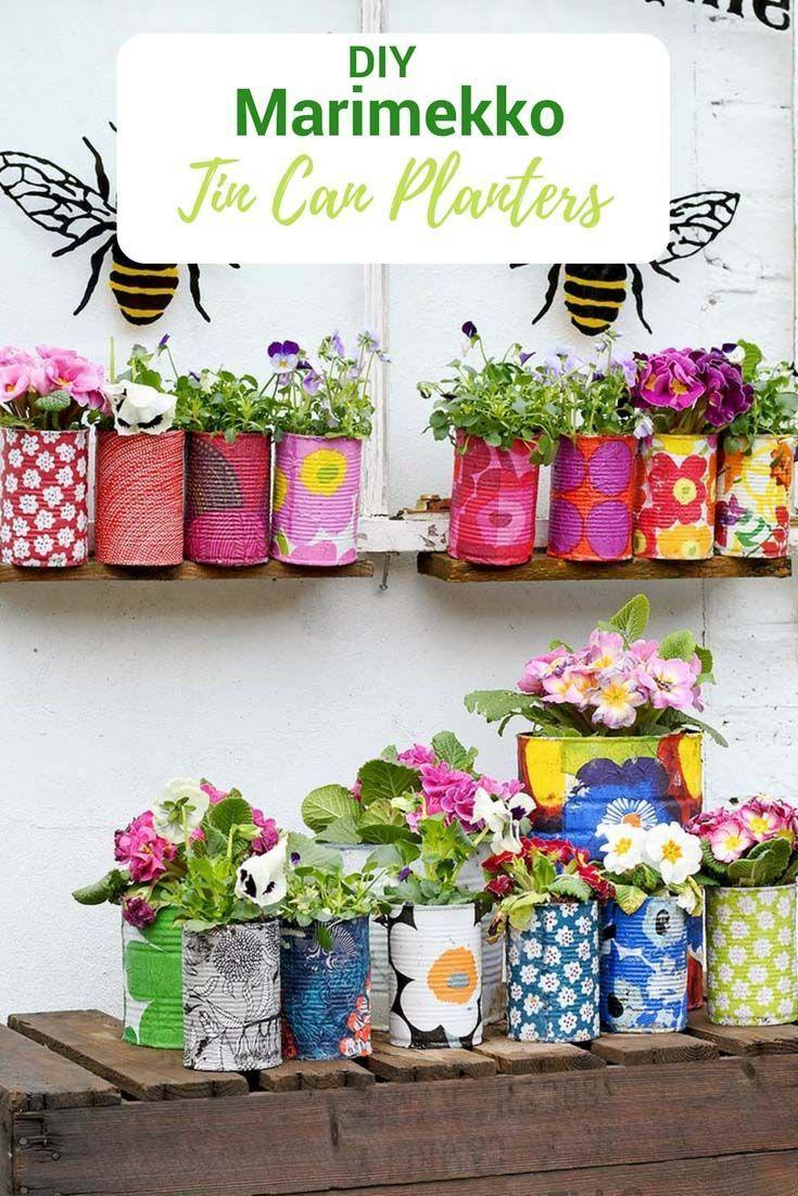 Einfache Upcycled Marimekko dekorative Blechdose Pflanzer
