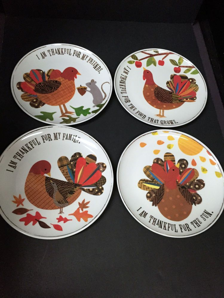 2014 Pottery Barn Kids Thanksgiving 4 Plate Turkey Dining