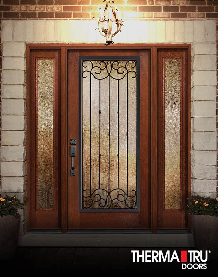 Therma-Tru Classic-Craft Rustic Collection fibreglass door with Borrassa wrought iron decorative glass & Therma-Tru Classic-Craft Rustic Collection fibreglass door with ...
