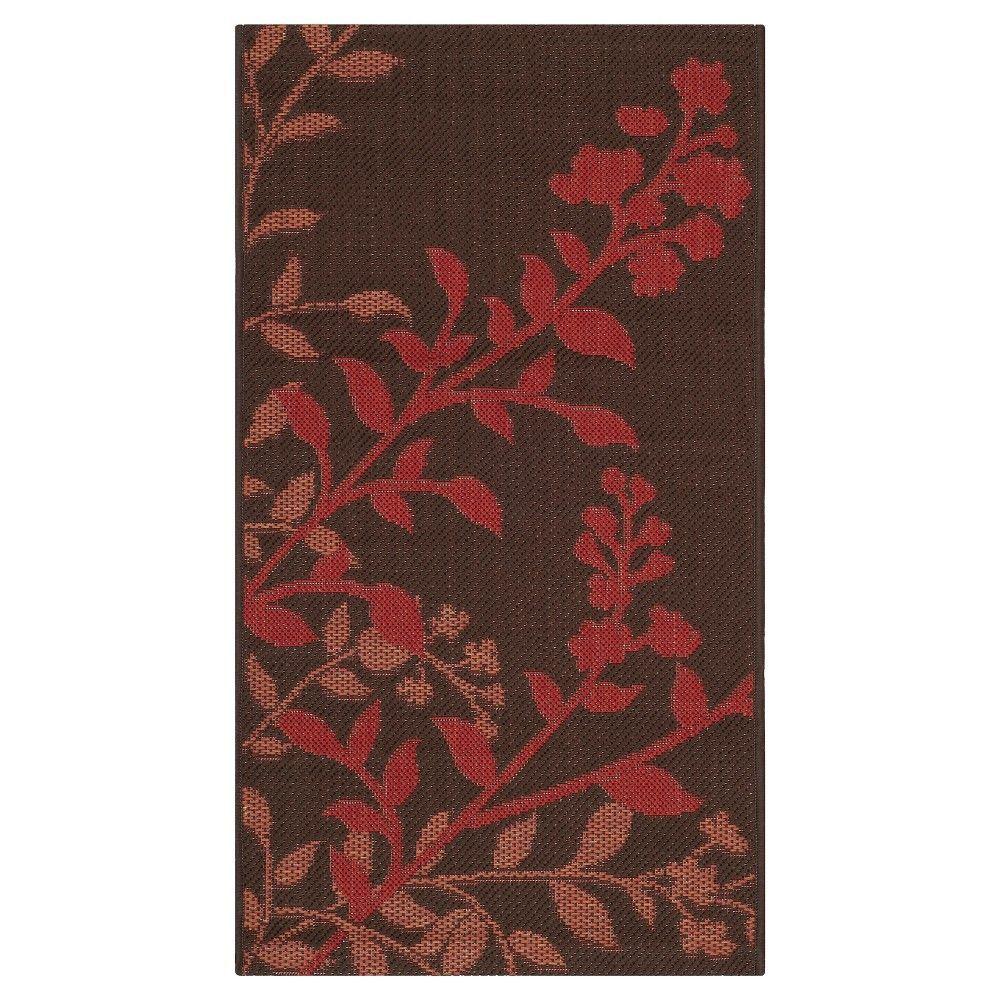 Barreiro Patio Rug   Chocolate / Red   Safavieh®