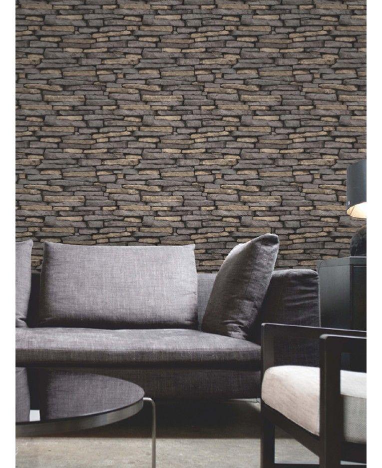 Natural Slate Stone Effect Wallpaper Fine Decor Fd31293