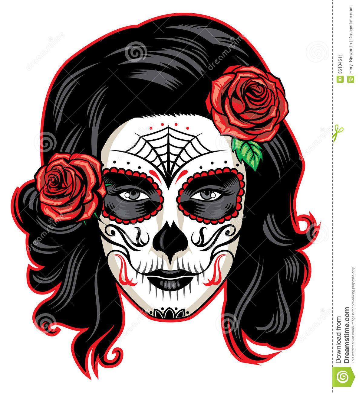 Cara De La Muchacha De Muerte Imagen De Archivo Imagen 36104611 Maquillaje Sugar Skull Maquillaje De Calavera Calavera Catrinas
