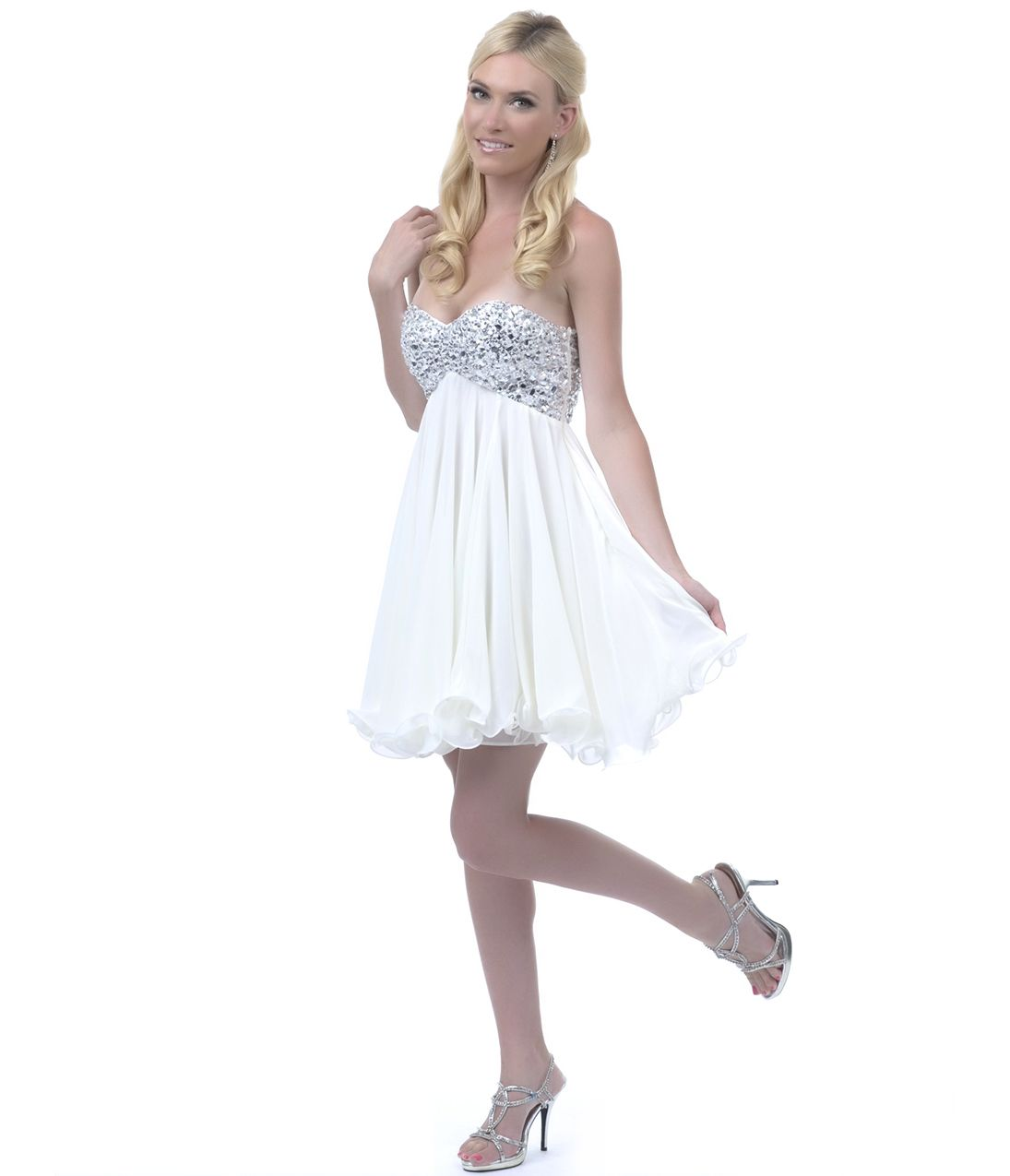 homecoming dresses off white sequin beaded strapless short