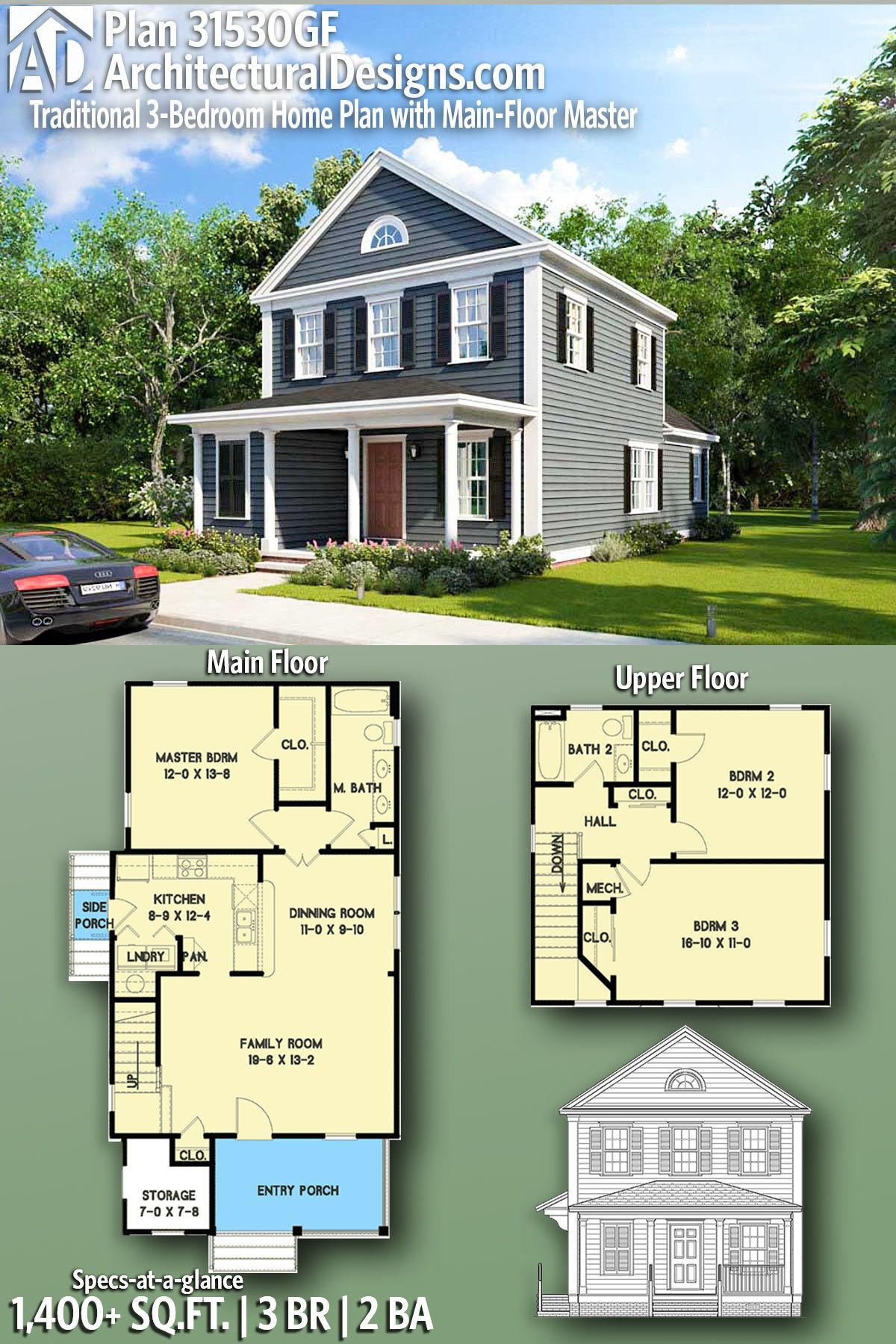Plan 31530gf Traditional 3 Bedroom Home Plan With Main Floor Master Craftsman House Plans New House Plans Sims House
