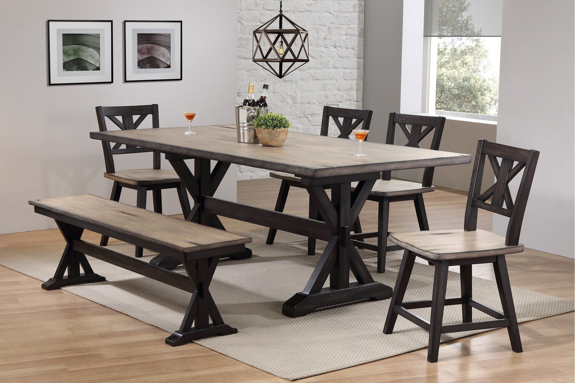 Farmhouse Sand And Black 6 Piece Dining Set With Bench Orlando Dining Set With Bench Farmhouse Table With Bench Farmhouse Dining Set