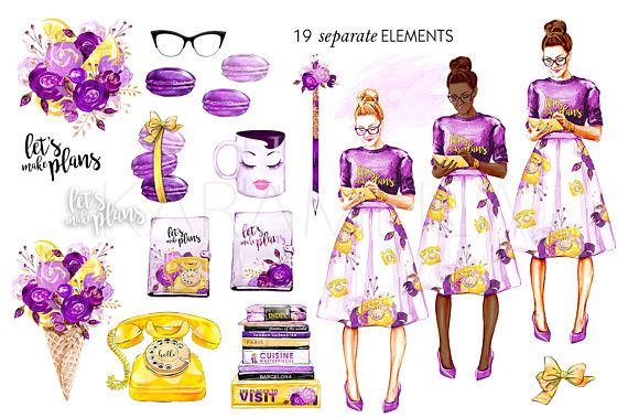 Planner Girl Clipart Travel Clip Art Fashion Illustration Ice Cream French Macarons Coffee Books Old Phone Purple Gold Glitter Stickers DIY