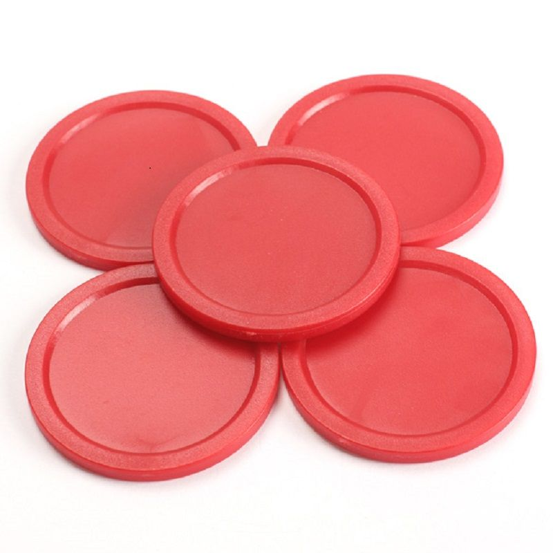 Wonderful 5Pcs Red 2 Inch Mini Air Hockey 50mm Children Table Puck 4mm Thickness ABS  Air