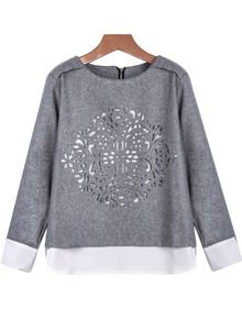 Grey Long Sleeve Hollow Loose Blouse US$15.83