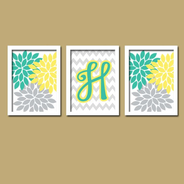 Popular items for yellow teal on Etsy | Morgan\'s room | Pinterest ...
