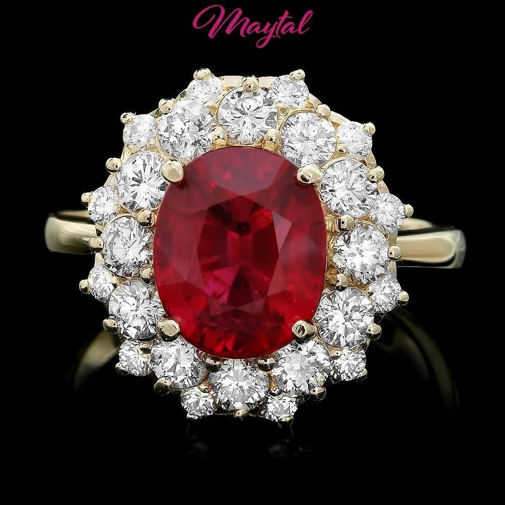 071d9364bc13a $8300 CERTIFIED 14K YELLOW GOLD 5.00CT RUBY 1.50CT DIAMOND RING ...