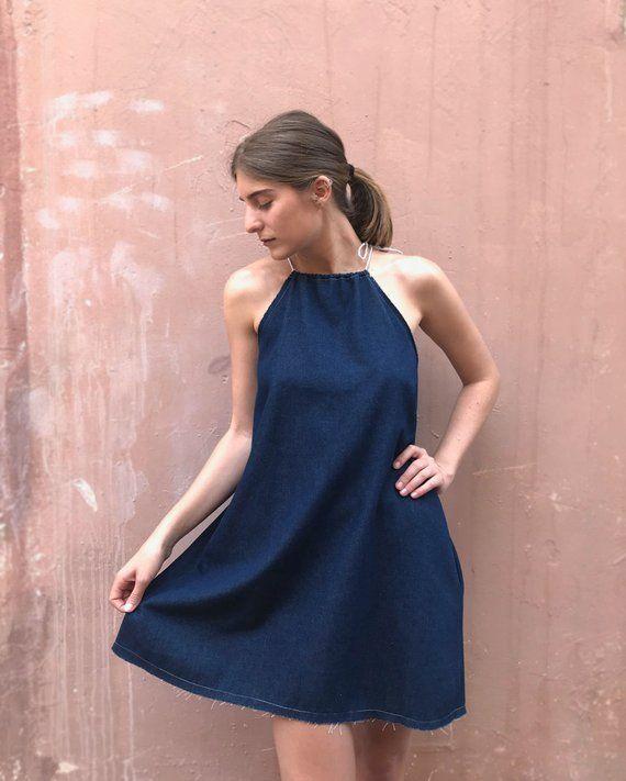 Photo of Denim Dress, Womens Dress, Blue Dress, Mini Dress, Indigo Dress, Origami Dress, Short Dress, Summer