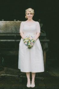 Tea length version of our Grace gown in a stunning Hinterland wedding. Bertossi Brides at Paddington Weddings