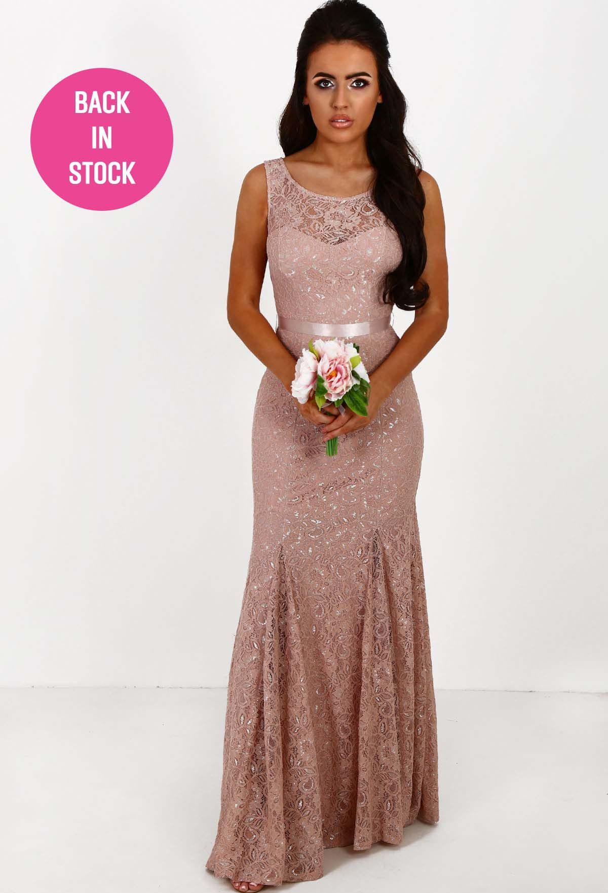 Ever after pink metallic lace backless fishtail maxi dress