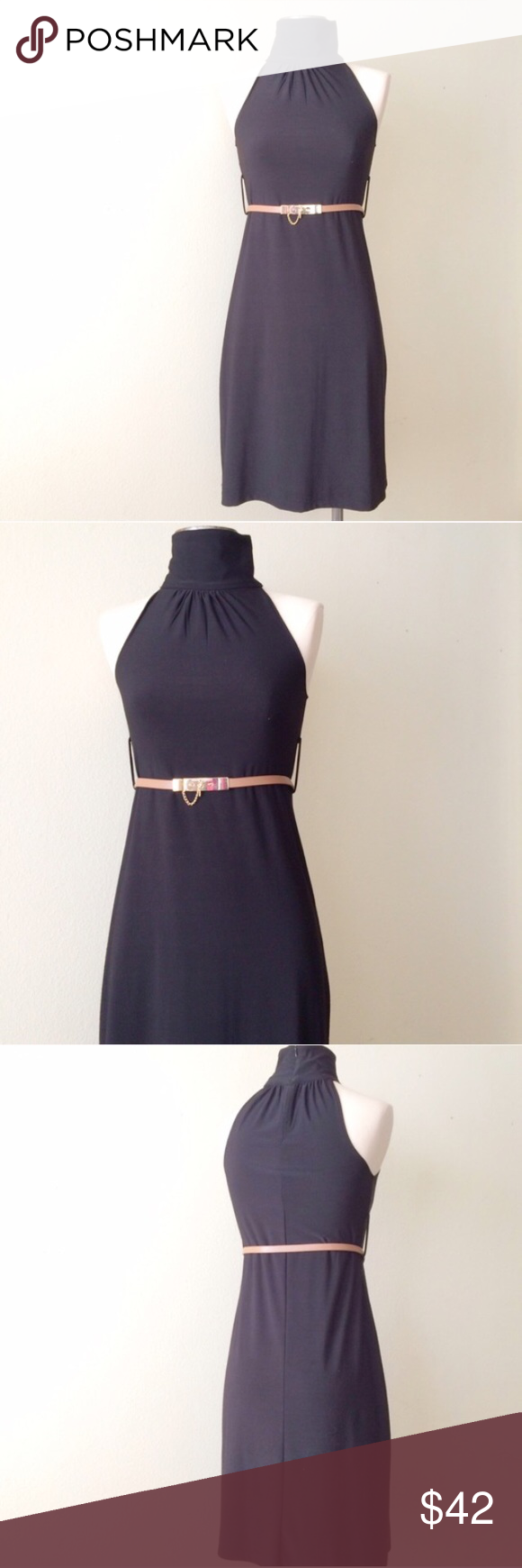 ❗FINAL PRICE️❗️Sleeveless Turtleneck Dress ❗️END OF SUMMER CLEARANCE❗️EUC. This could be your new LBD. Complete with loops for a belt, you could go skinny or wide. Minor piling on back (pictured). 90% polyester | 6% spandex. Brand: Forever 21. Listed for exposure. *belt not included* Reformation Dresses