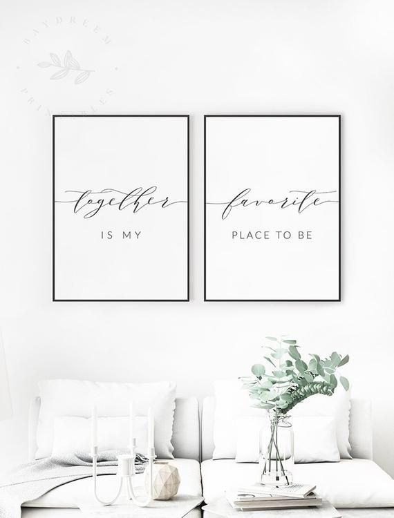 Together is my favorite place to be Printable Quote Art, Bedroom Printable Wall Art, My Favorite Place to be Print Set of 2 Bedroom Wall Art
