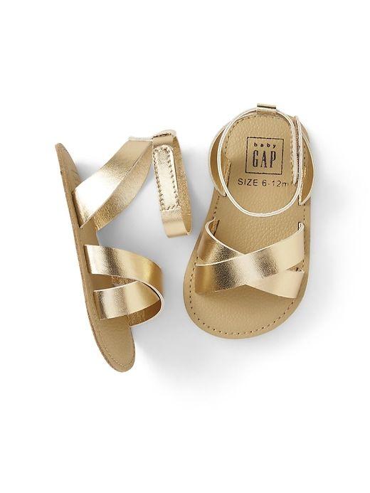 24b05b7598bd Gap Baby Cross-Strap Metallic Sandal Gold Metallic