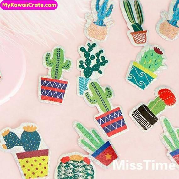 Glänzende Kaktuspflanzen Bling Deco Sticker Pack ~ Kawaii Laser Aufkleber, Sukkulente ... Glänzen