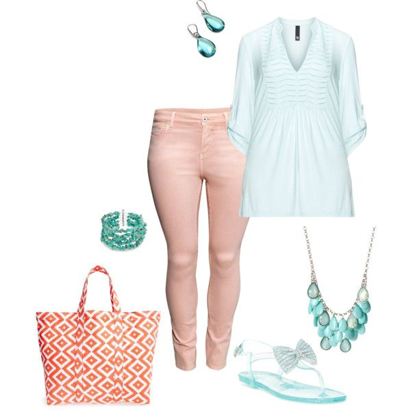 A fashion look from March 2015 featuring blue top, light pink jeans and ziginy sandals. Browse and shop related looks.