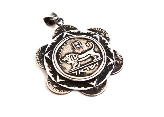 """Coin Necklace- made from US Dimes and Israeli 5 Lira- Roaring Lion-""""Bravery Sunflower Necklace""""-OOAK- Unique Coin Jewelry- Handmade"""
