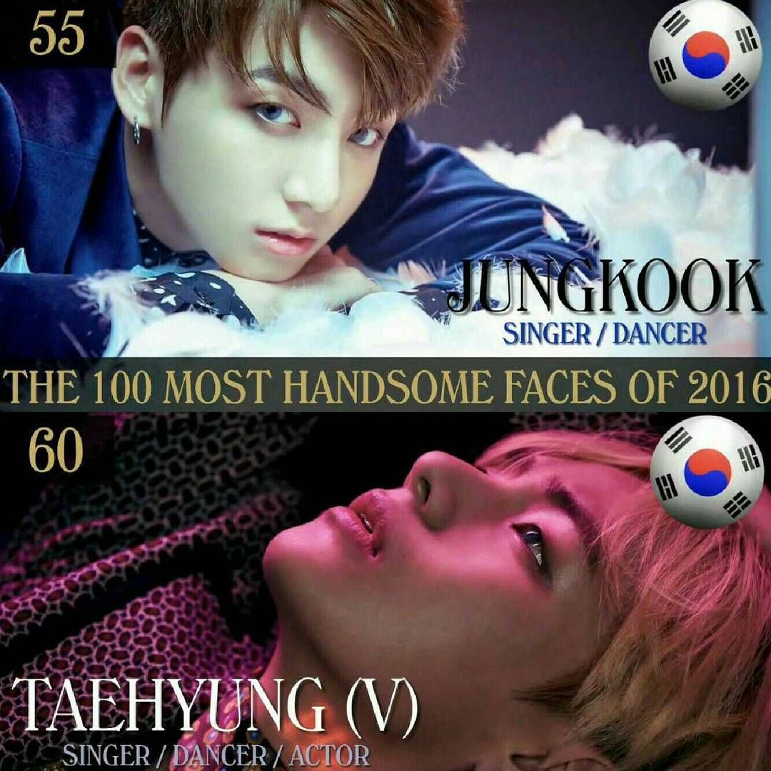 Tc Candler Releases Top 100 Most Handsome And Beautiful Faces Of 2016 With Jungkook At No 55 And V At No 60 It S A Yearly List Of Faces From All Over The Worl