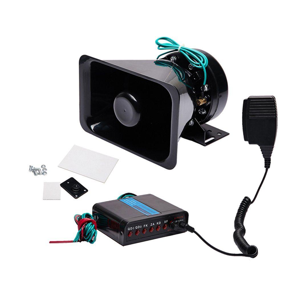 Siren Horn Remote Control Kit Warning Fire Black 7 Tones Wireless Electronic 1x