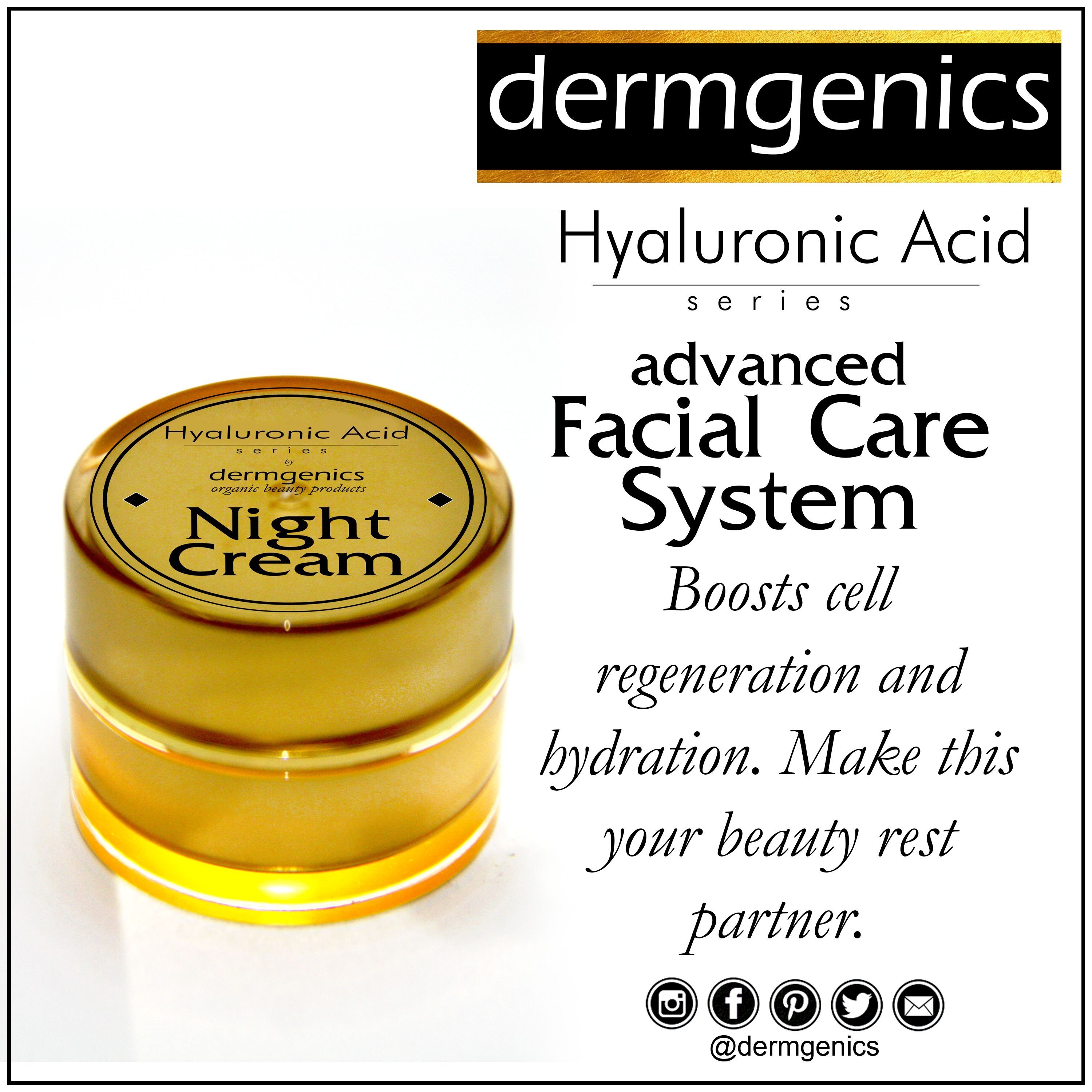 Dermgenics organic beauty products hyaluronic acid series night