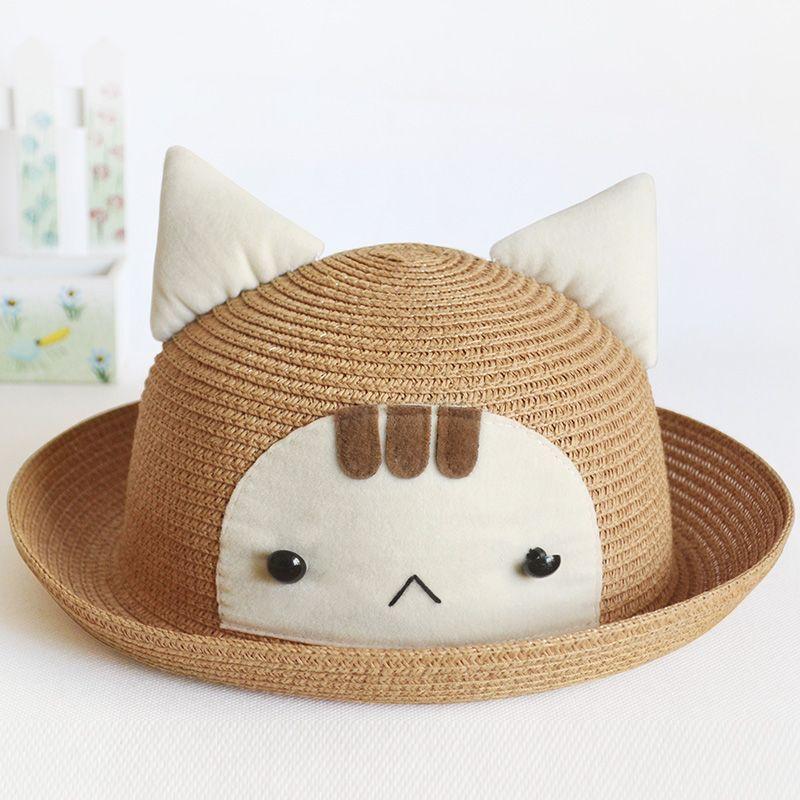 Cute Cat Straw Hat With Cat Ear 050 Hats Cat Ear Straw Hat