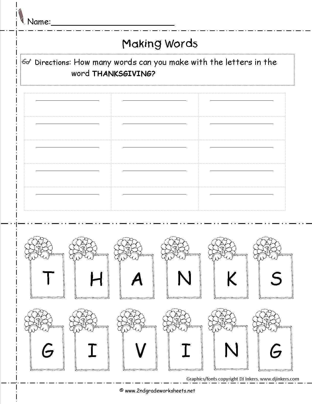 Happy Thanksgiving Worksheets First Grade Thanksgiving Worksheets Thanksgiving Math Worksheets Making Words Kindergarten