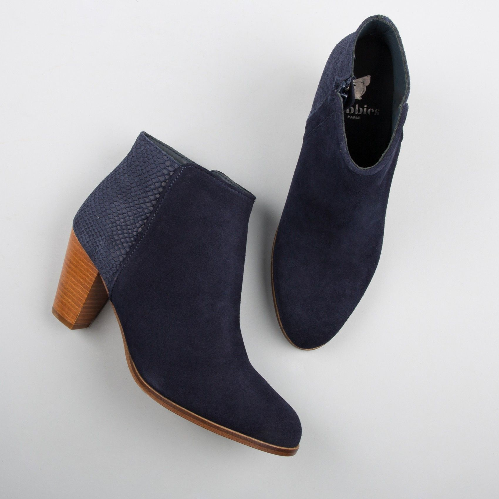 bottines à talons bleu marine - l'envoutante - bobbies | ll i want