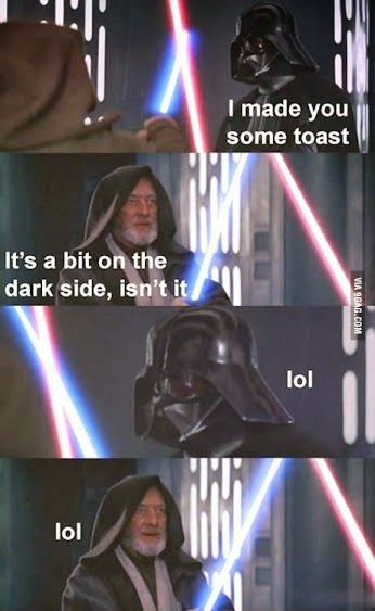 Toast On The Dark Side Starwars Funny Funny Star Wars Pictures Star Wars Pictures Star Wars Humor