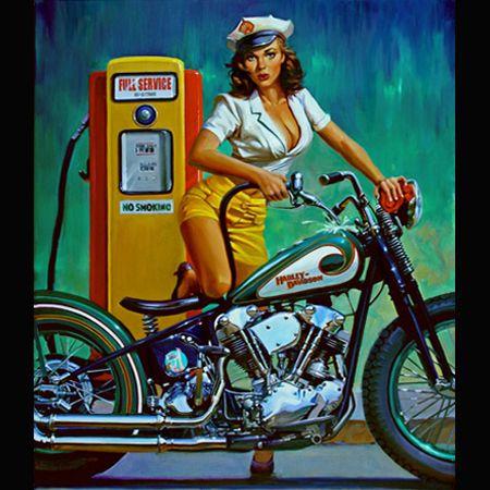 "Harley Davidson Pinup Girl   Tattoo Ideas & Inspiration - Pinups   David Uhl - ""Full Service"""
