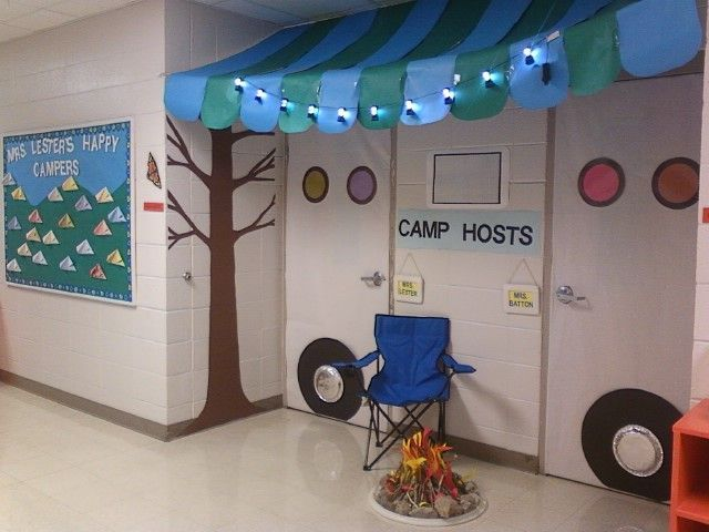 Camping Classroom Decoration : Classroom door decoration for camping theme. looks like a shasta