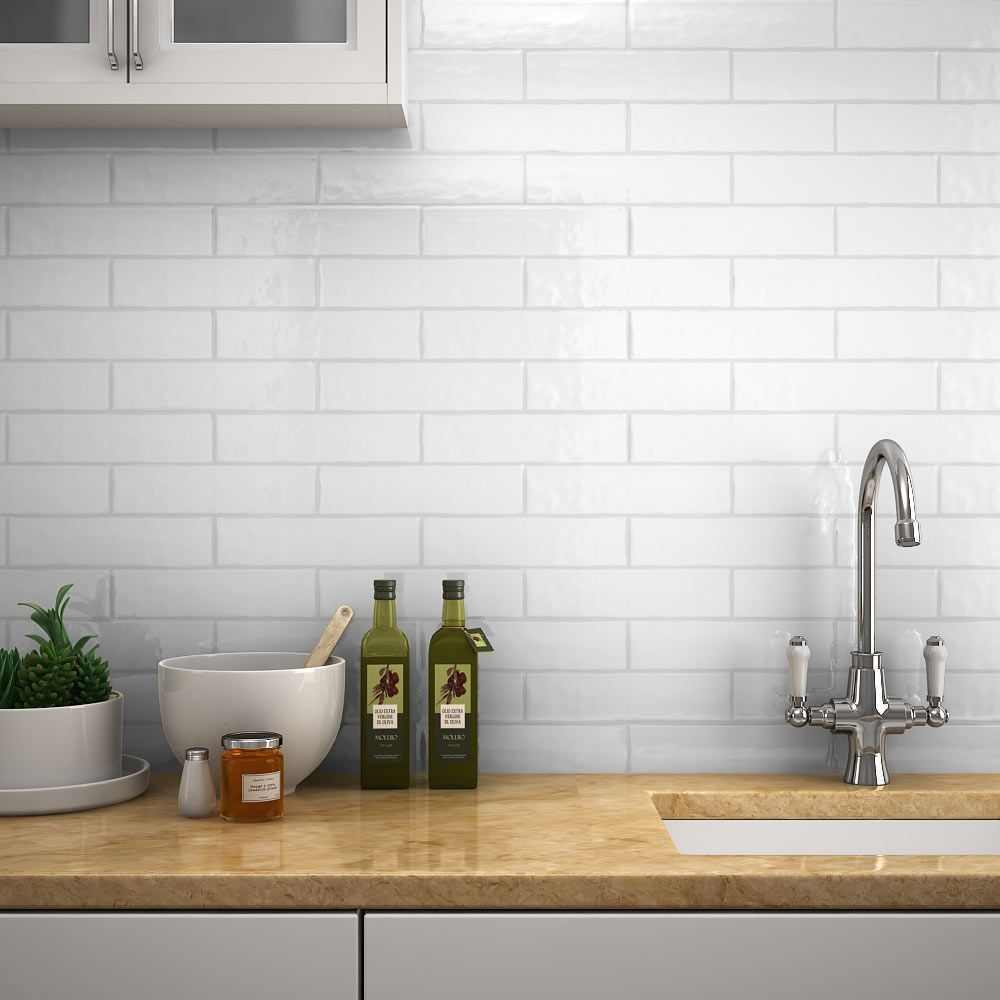 Mileto Brick White Gloss Ceramic Wall Tile 75 X 300mm Pack Of 25 Kitchen Wall Tiles White Wall Tiles Ceramic Wall Tiles