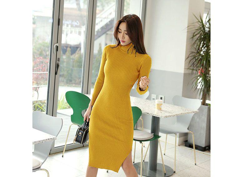 0f63753409 Korean Women Long Sleeve Turtleneck Sweater Dress Mustard Double Split  Bodycon Knitted Dress Warm Knee-Length Winter Dress
