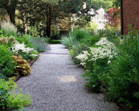 Gartengestaltung Kies Gartenweg Weiße Akzente Grünes Laub | Garten