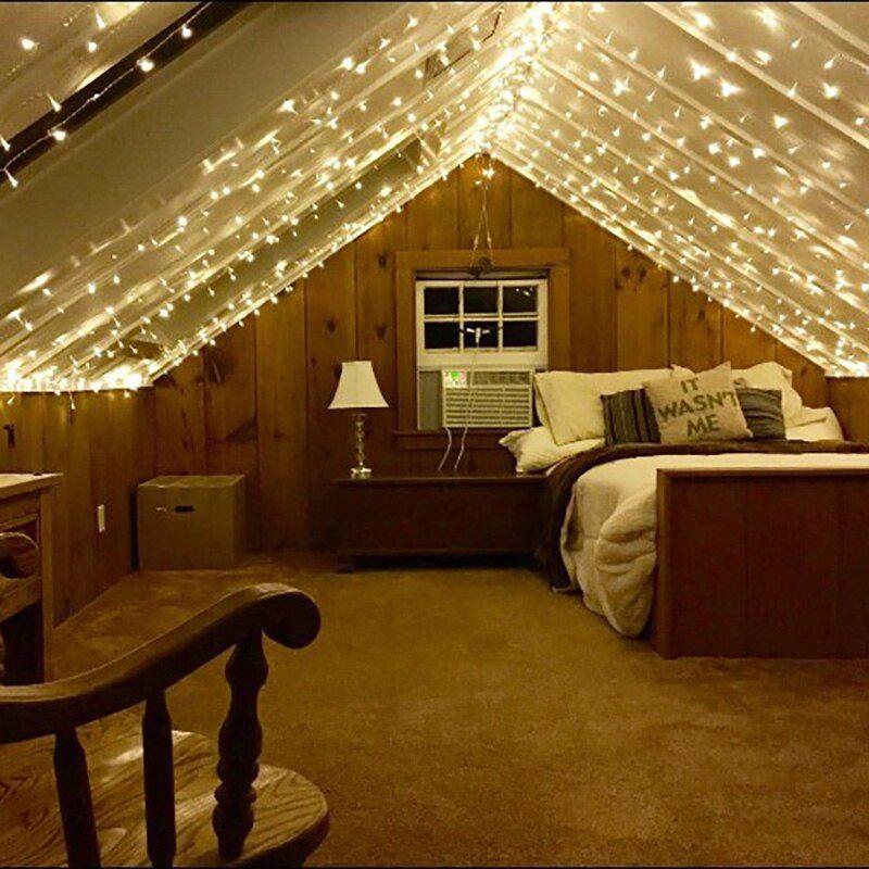 Attic Bedroom Ideas Fairy Lights In 2020 Angled Bedroom Angled Ceiling Bedroom Slanted Ceiling Bedroom