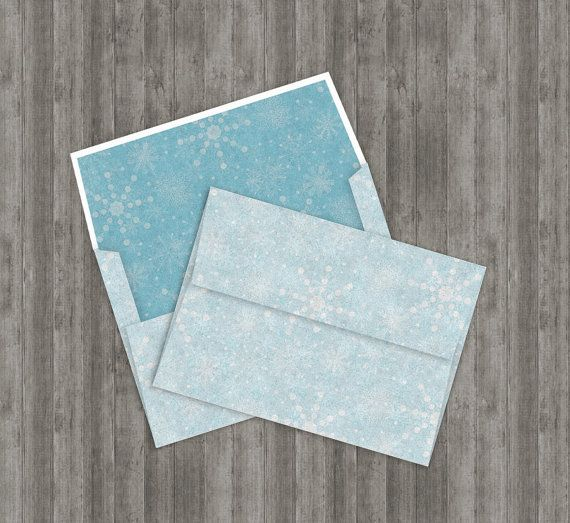 Printable Snowflakes Envelope Diy X Digital Template Kit For