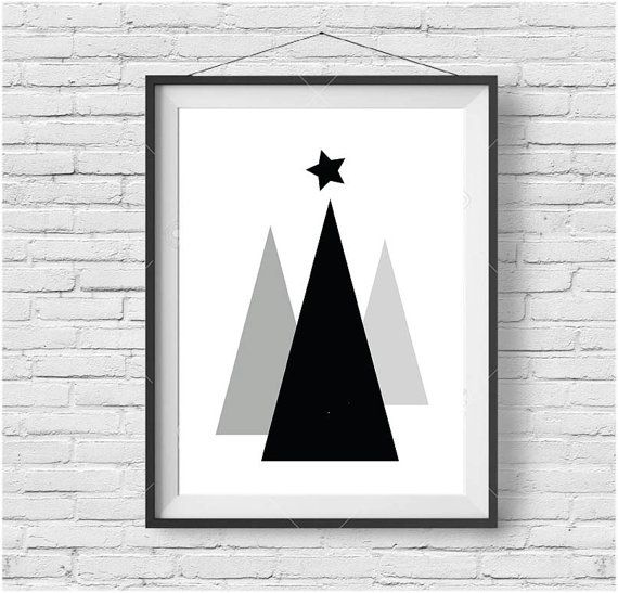 Minimalist christmas tree art black white christmas decor christmas print geometric poster triangle art minimalist