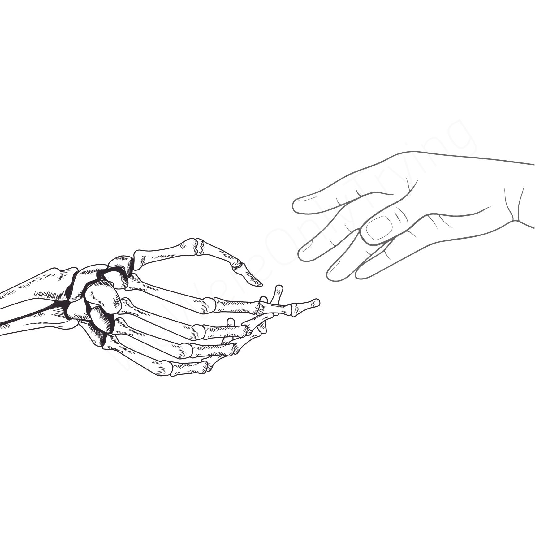 Skeleton Hand Wall Art Print Printable Etsy In 2021 Skeleton Hands Drawing Black And White Aesthetic Black And White Drawing