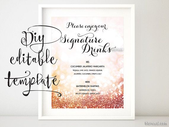 Printable Signature Drinks Sign Template Rose Gold