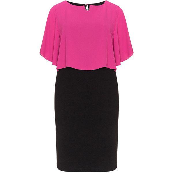 chiffon overlay black knee length dress