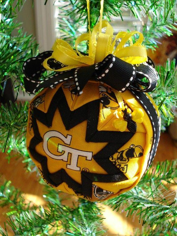 Georgia Tech Quilted Ball Christmas Ornament   Pinterest   Christmas ...