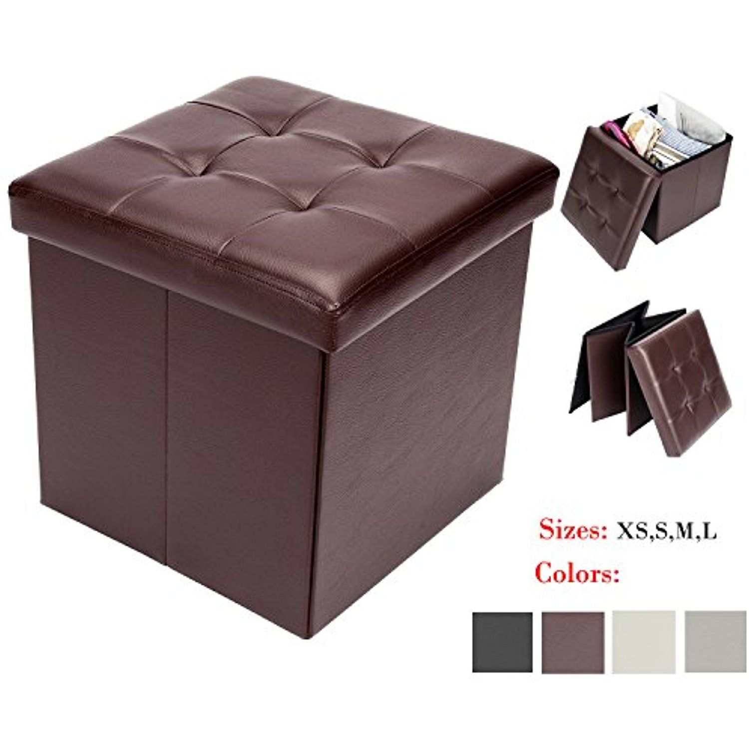 Bonnlo Leather Folding Organizer Seat Storage Ottoman Bench Footrest Stool Coffee Table Cube Port Folding Storage Ottoman Storage Cube Ottoman Storage Ottoman