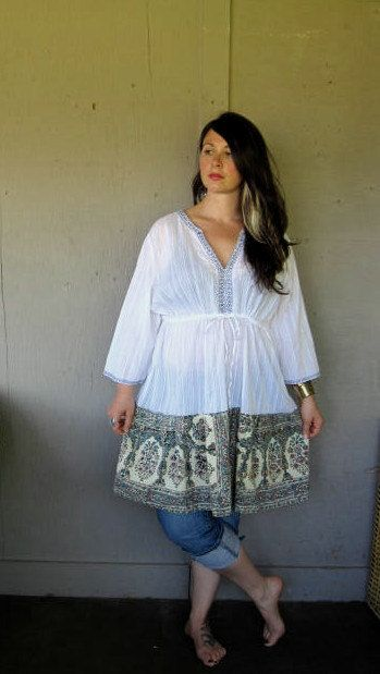 upcycled clothing Funky peasant dress Tattered Artsy Hippie dress ...
