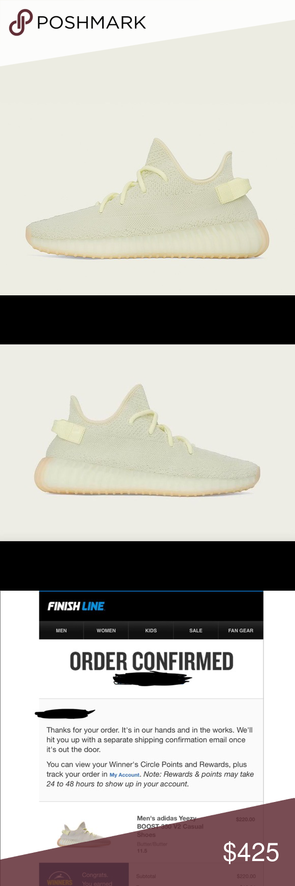 51e330b8c8d30 Yeezy 350 v2 butter BRAND NEW BRAND NEW from Finish Line. I will receive  the sneakers in the mail 7 6. Will ship out that day. Comes with original  receipt.