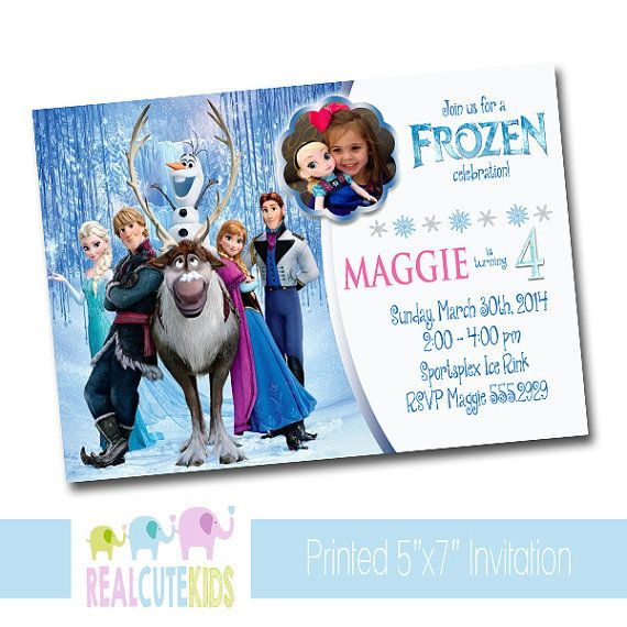Printed Invitation Photo Personalized Disney Frozen Birthday – Personalized Disney Birthday Invitations